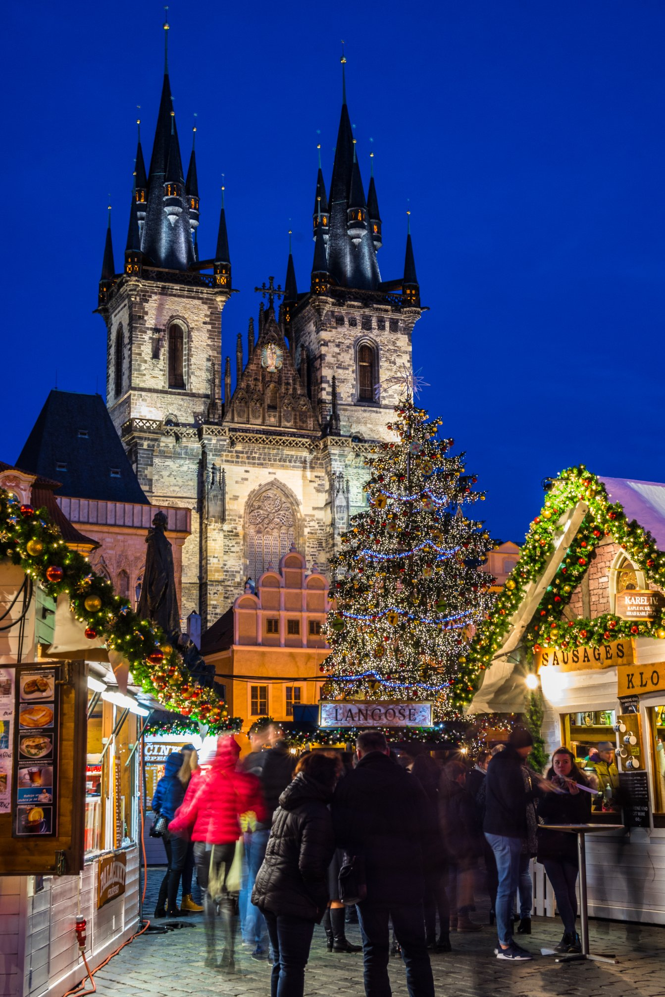 Prague Old Town Square Christmas Market evening