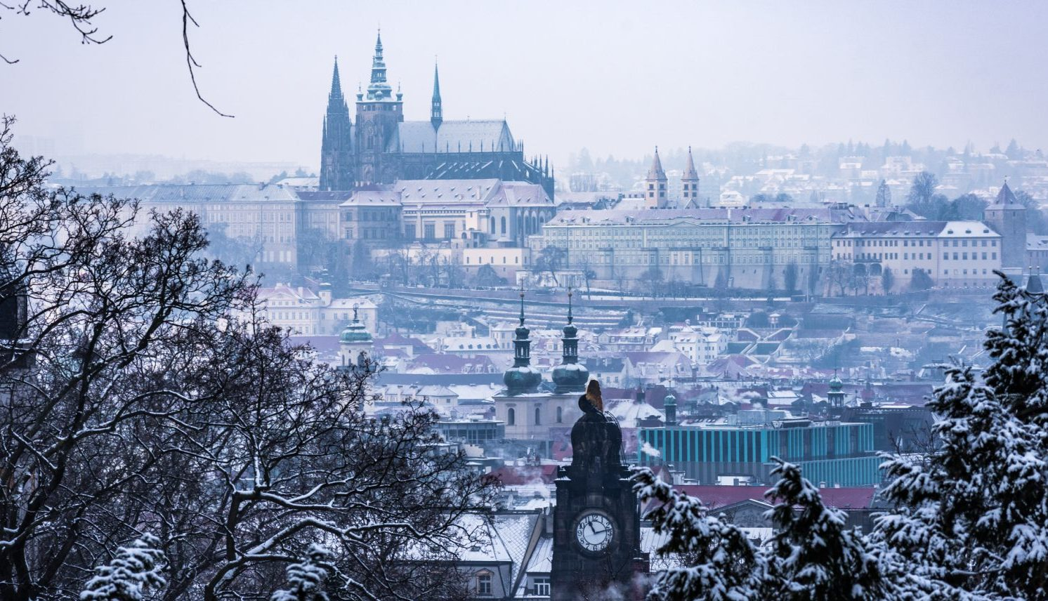 Old Town Prague Castle in the snow
