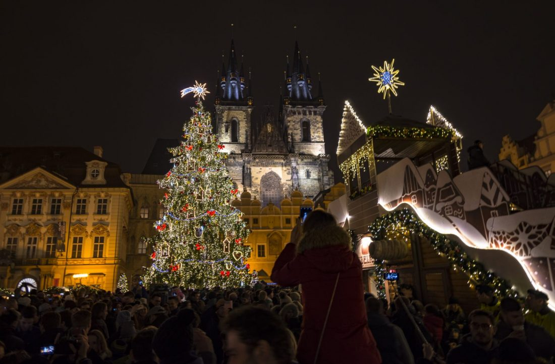 Prague Old Town Square Christmas Market Night