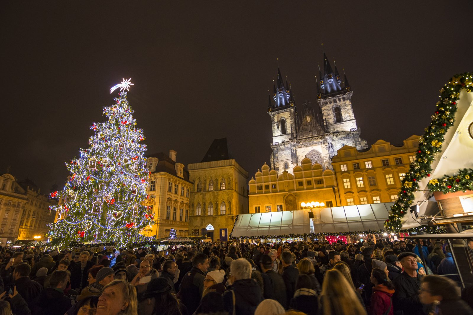 Prague Old Town Square Christmas Market Night