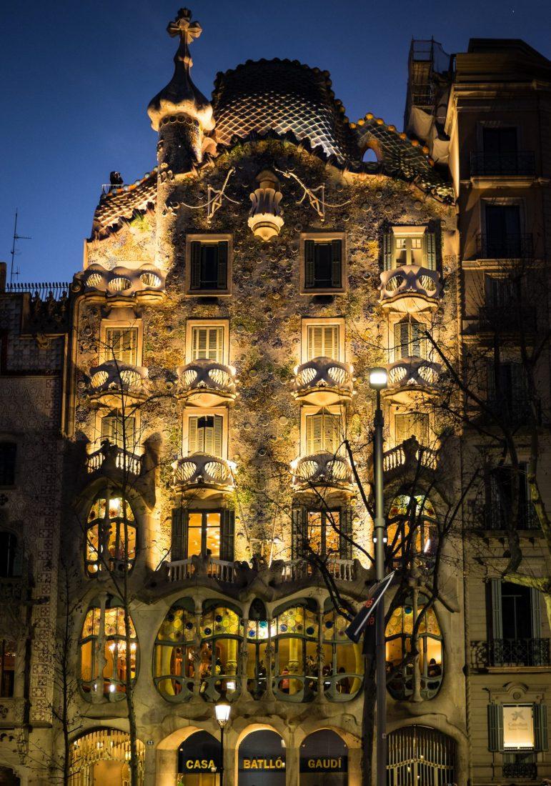 Casa Batllo at night in Barcelona