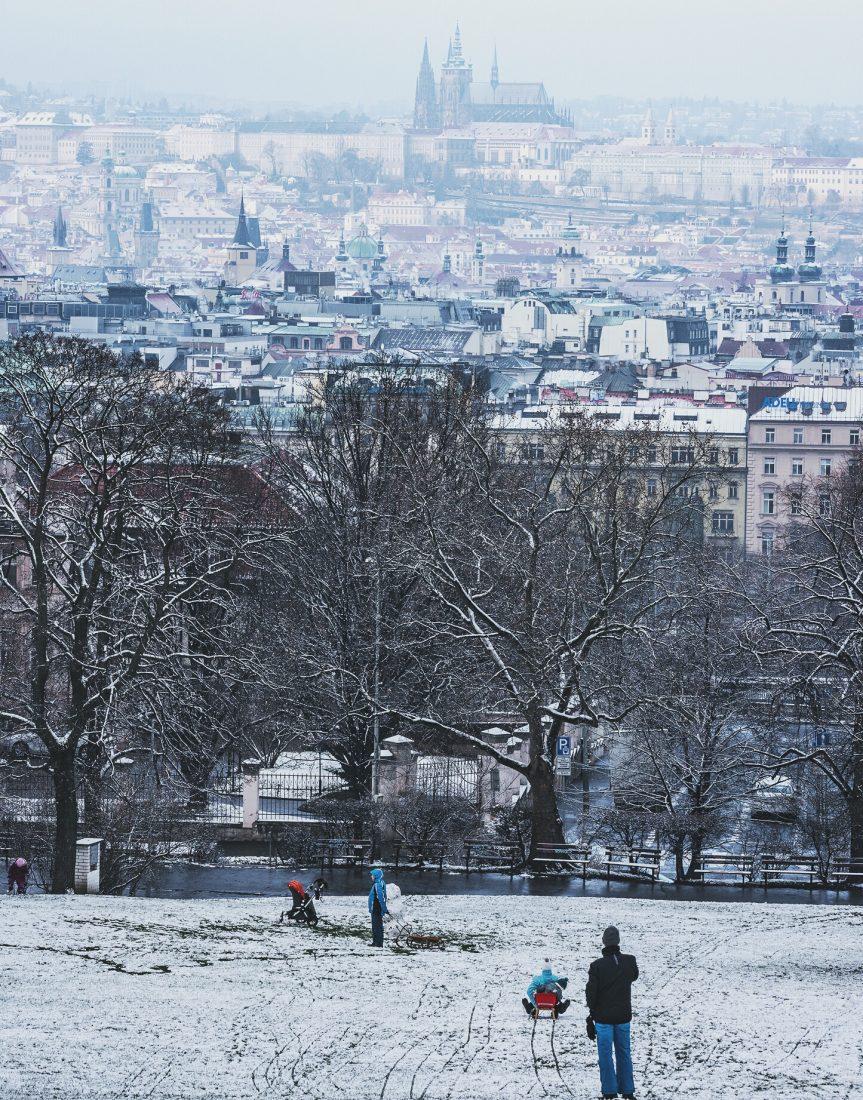 winter in prague - sledding in Pragues parks