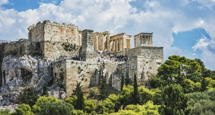 the parthenon on a beautiful day in athens greece