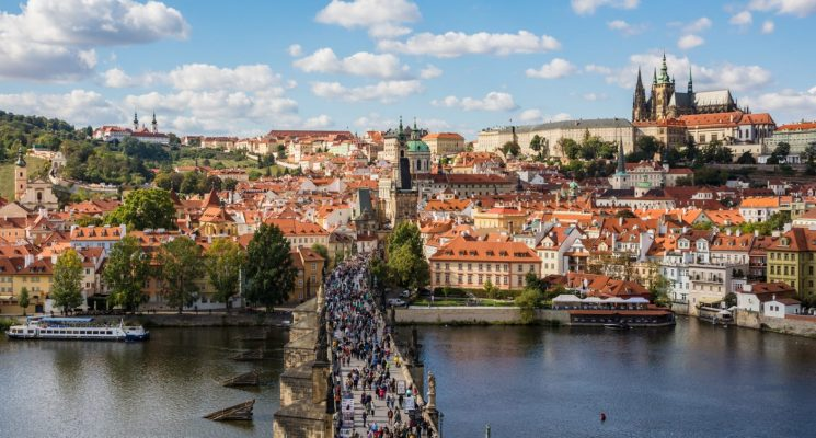 Views of Malat Strana, the Charles Bridge, and Prague Castle from the top of the bridge tower