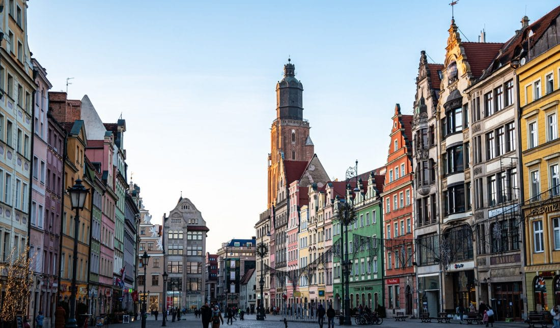 Rynek Square in Wroclaw with St. Elizabeth tower looming in the background