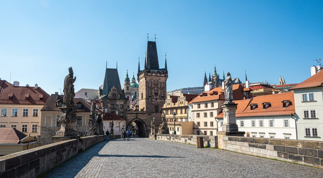 empty charles bridge in prague pandemic