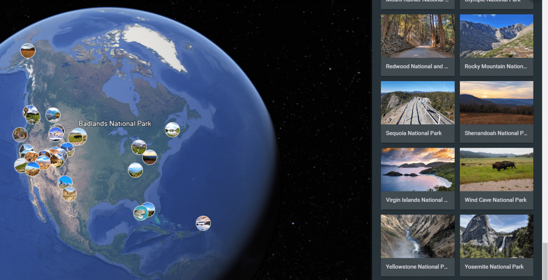 a screen shot of googe earth national parks virtual tours during the pandemic