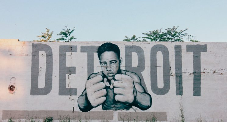 a mural in detroit spelling out the city name