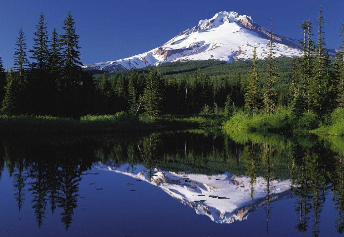 Mount Hood reflecting off of a blue lake in Oregon