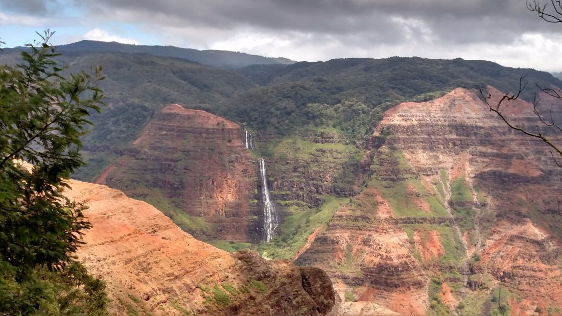 A view of Waipoo Falls in Kauai Hawaii