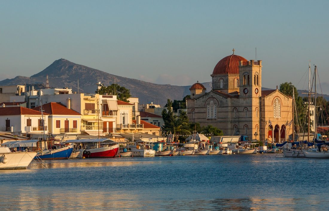 view of the port in Aegina Greece