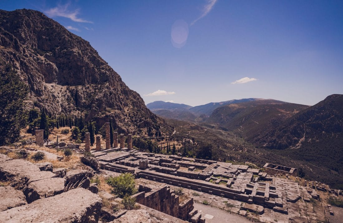 View of ruins in Delphi Greece