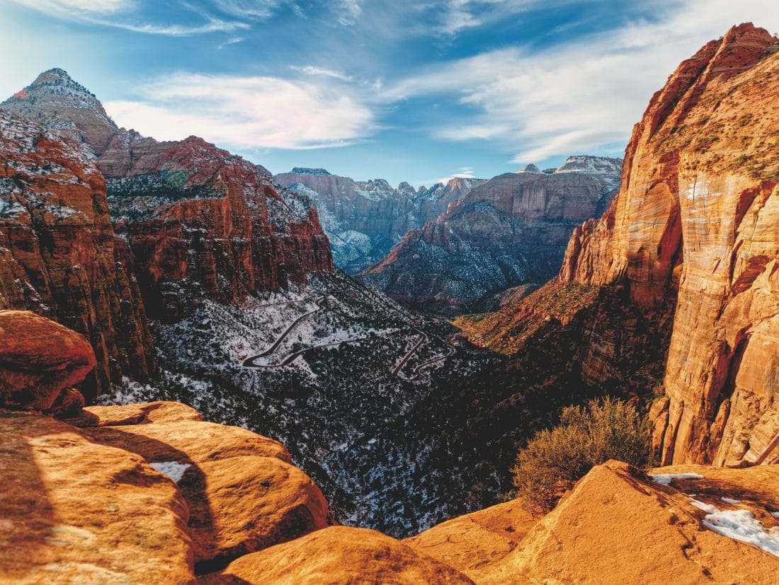 a scenic view of zion park Utah