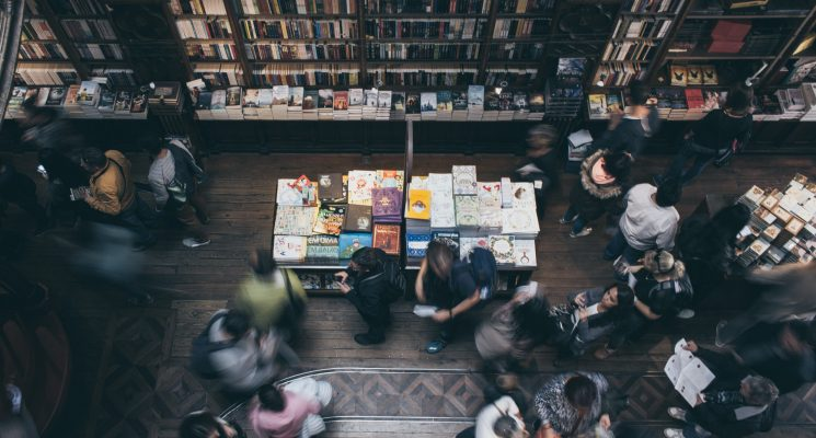 view of people shopping in a bookstore in New York City