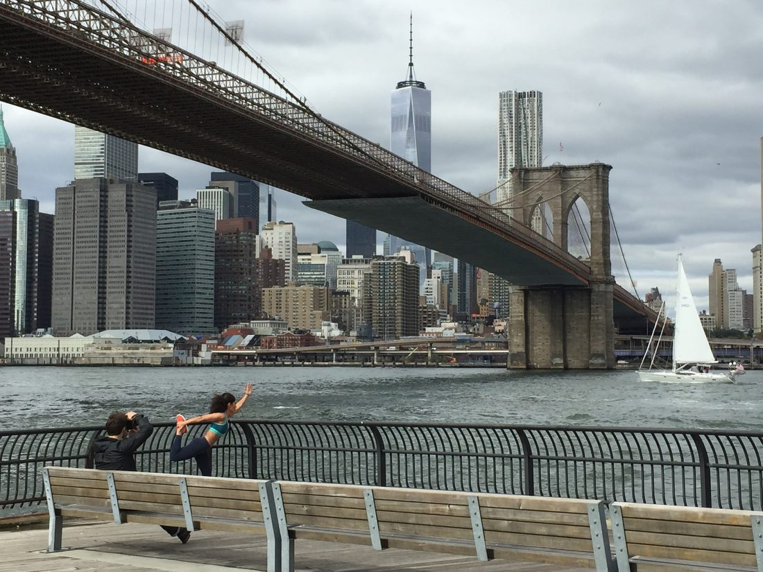 view of the Brooklyn Bridge and Lower Manhattan from Brooklyn Bridge Park NYC