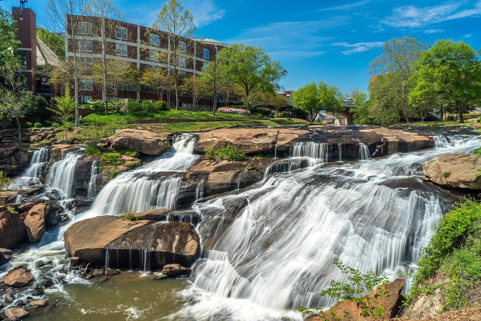 A view of Fall's Park and its waterfalls in Greenville South Carolina