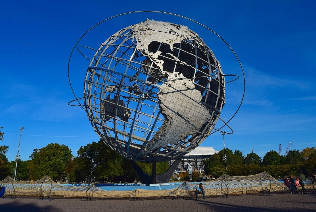 a view of the Globe in Flushing Meadows Park