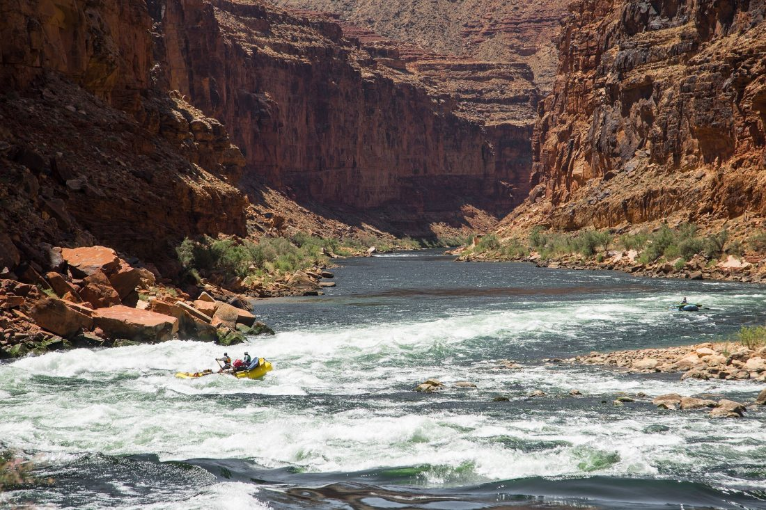 white water rafting in a rover canyon near Moab