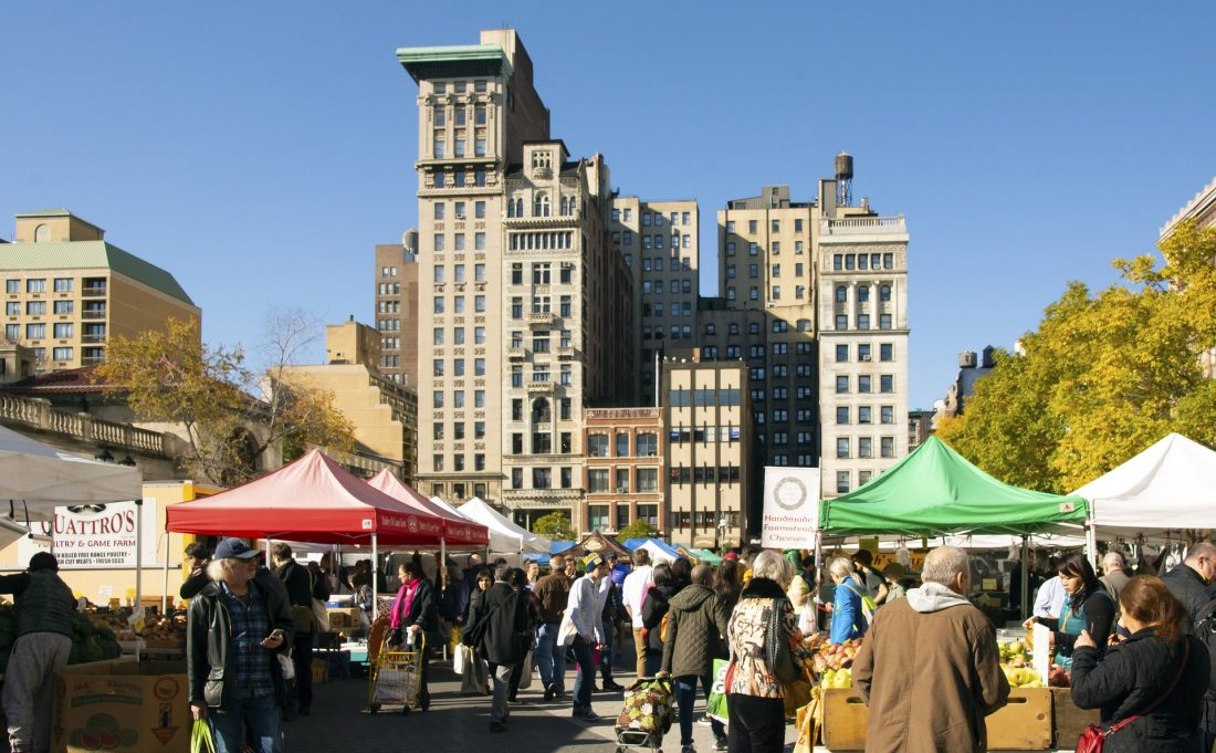 people shopping at the farmer's market in Union Square NYC