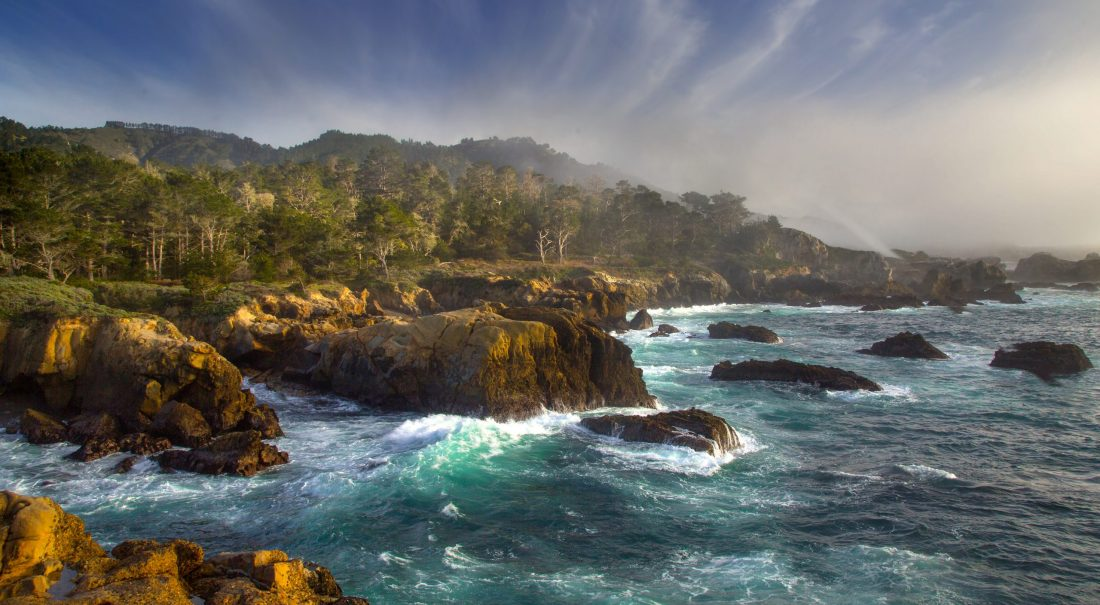 Waves crashing onto the shores of Point Lobos near Monterey, California