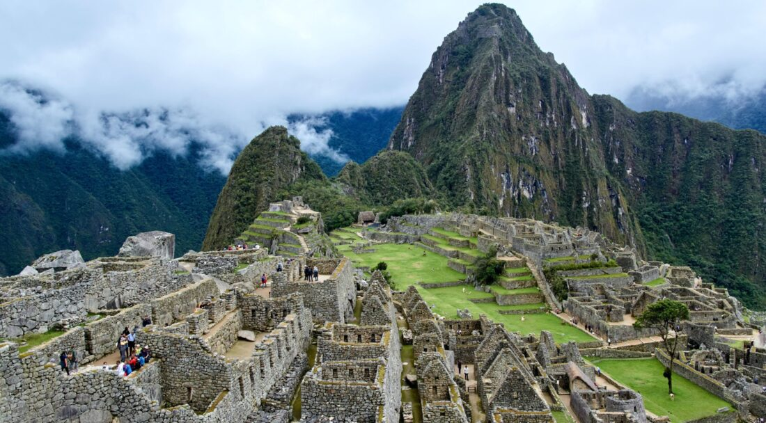 A view of Machu Picchu on a misty day