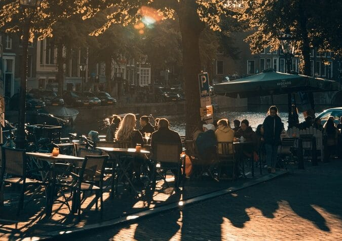 sunlight on a outdoor cafe in AMsterdam