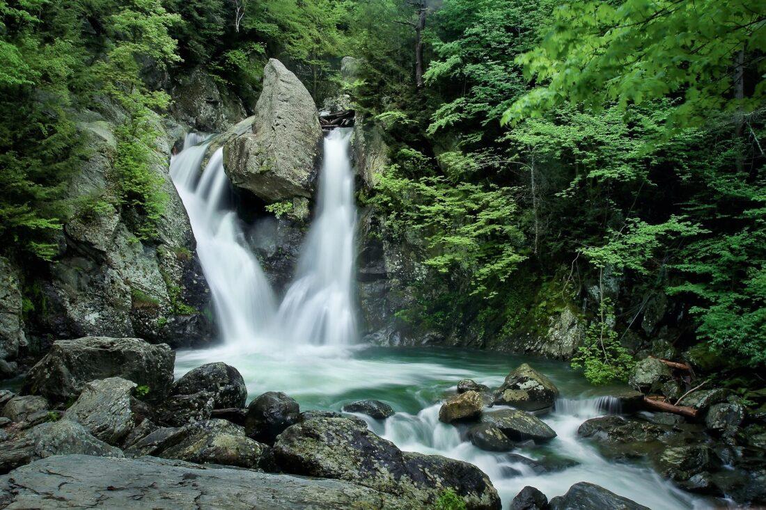 Hiking in the Berkshires: Small waterfall at Bash Bish Falls