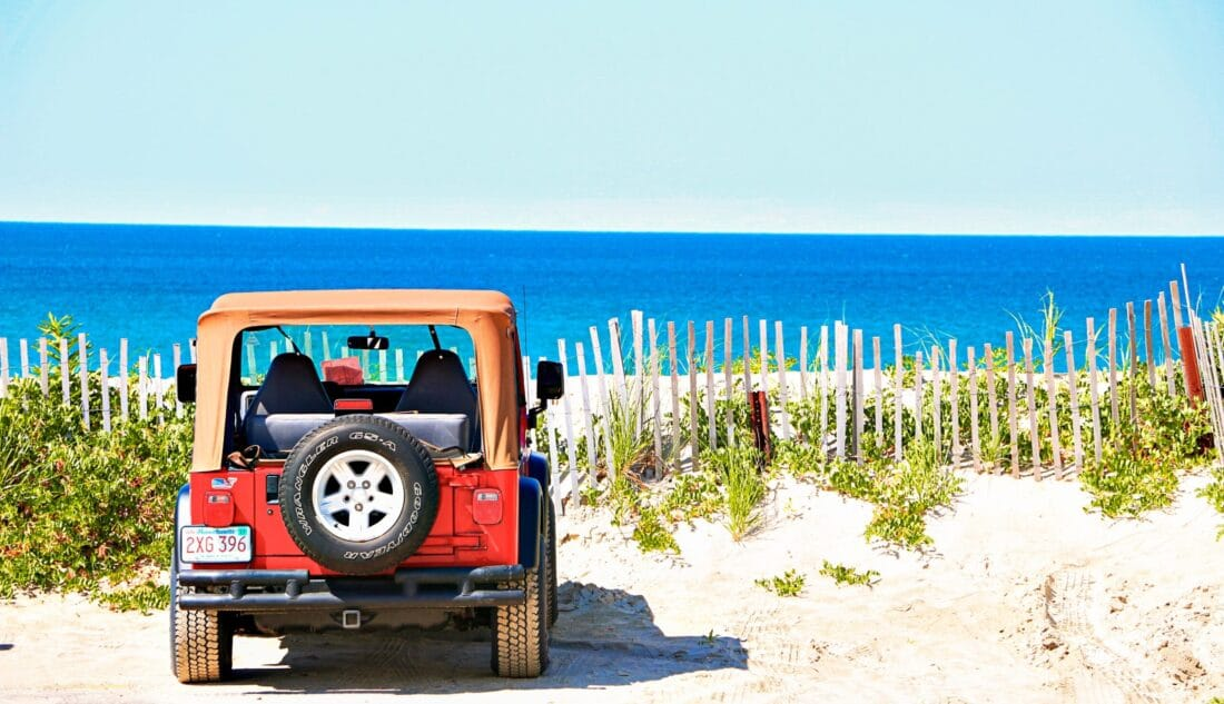 car parked over looking the beach in Cape Cod