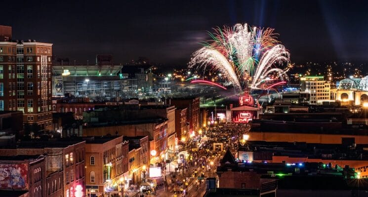 fireworks over downtown nashville