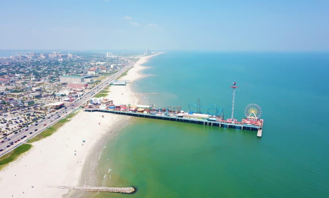 bird eye view of a pier in Galveston Texas