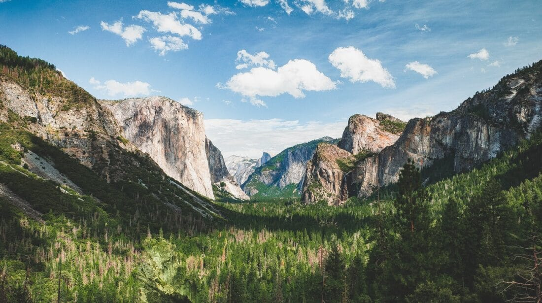 green meadows and two mountains in Yosemite Park