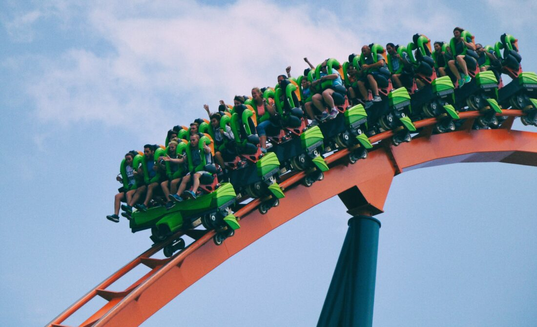 people on a rollercoaster in cedar point, Ohio