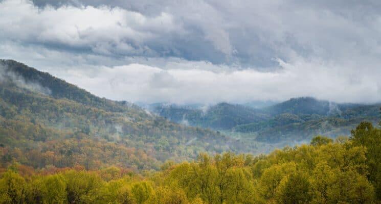view of fog over hills near Cherokee NC